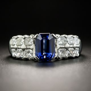 Estate 1.58 Carat Emerald-Cut Sapphire and Diamond Ring - 1