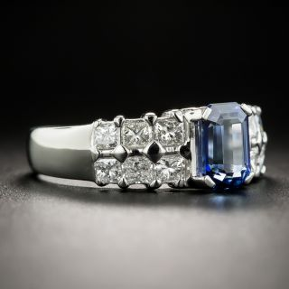 Estate 1.58 Carat Emerald-Cut Sapphire and Diamond Ring