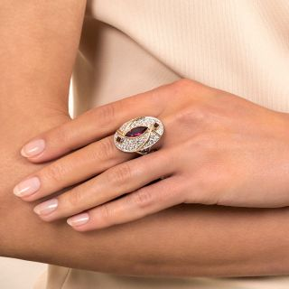 Estate 1.65 Carat Marquise Ruby and Diamond Ring