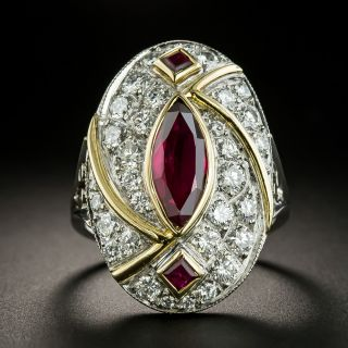 Estate 4.80 Carats Marquise Ruby and Diamond Ring - 2