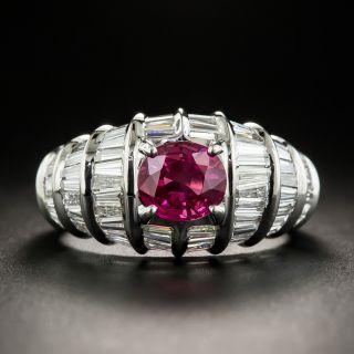 Estate 1.68 Carat Burmese Ruby and Diamond Ring - 1
