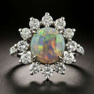 Estate 1.70 Carat Black Opal and Diamond Halo Ring - 1