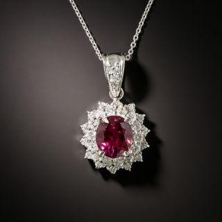 Estate 1.74 Carat Pink Tourmaline and Double Diamond Halo Pendant - 1