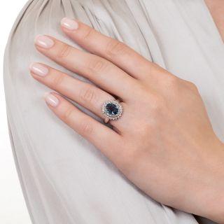 Estate 1.75 Carat Sapphire and Diamond Double Halo Ring