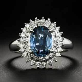 Estate Sapphire and Diamond Double Halo Ring - 2