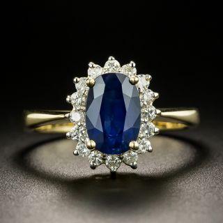 Estate 1.75 Carat Sapphire and Diamond Halo Ring - 3