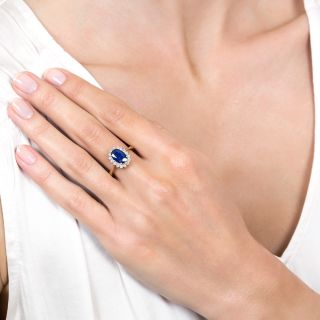 Estate 1.75 Carat Sapphire and Diamond Halo Ring