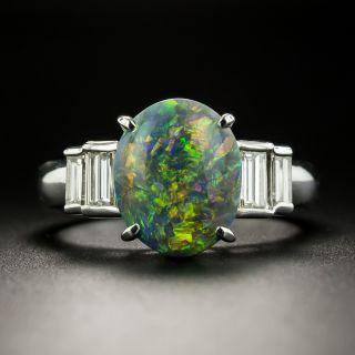 Estate 1.78 Carat Black Opal Cabochon and Diamond Ring - 2