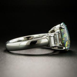Estate 1.78 Carat Black Opal Cabochon and Diamond Ring