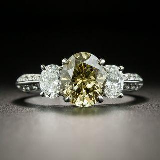 Estate 1.78 Carat Natural Fancy Brownish Yellow Oval Diamond Engagement Ring - GIA - 1