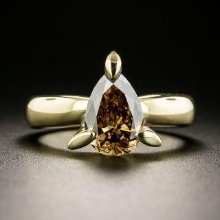 Estate 1.79 Carat Pear-Shaped Diamond Ring - GIA Fancy Dark Orangey Brown  - 1