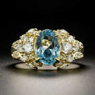 Estate 1.83 Carat Aquamarine and Diamond Ring - 2