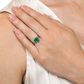 Estate 1.90 Carat Colombian Emerald and Diamond Ring