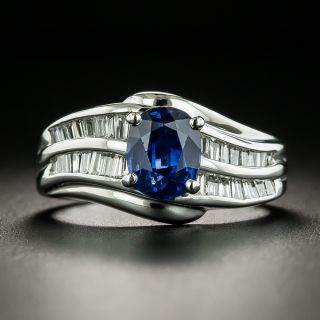 Estate 1.92 Carat Sapphire and Baguette Diamond Ring - 1