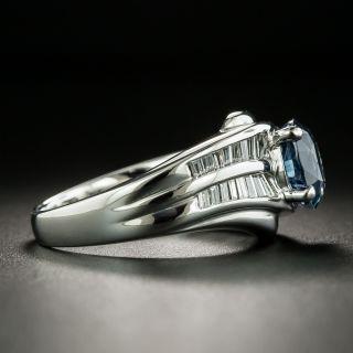 Estate 1.92 Carat Sapphire and Baguette Diamond Ring