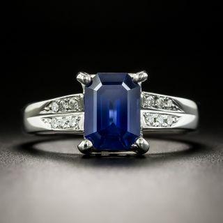 Estate 1.93 Carat Emerald-Cut Sapphire and Diamond Ring  - 2