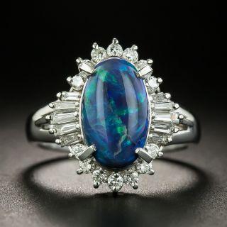Estate 1.95 Carat Black Opal and Diamond Ring - 1