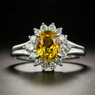 Estate 1.97 Carat Golden Sapphire and Diamond Ring - 1