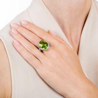 Estate 10-Carat Peridot and Diamond Cocktail Ring
