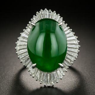 Estate 11.05 Carat Natural Burmese Jade and Diamond Ballerina Ring - 1