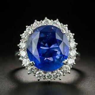 Estate 11.39 Carat Natural No-Heat Ceylon Sapphire and Diamond Ring - 1