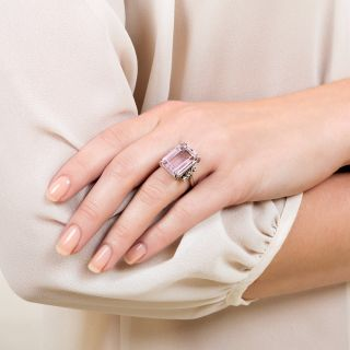 Estate 11.80 Carat Kunzite and Diamond Cocktail Ring