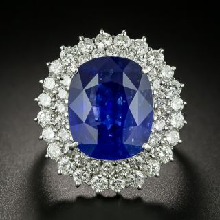 Estate 12.18 Carat Ceylon Sapphire Diamond Ring - GIA - 1