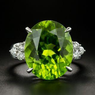Estate 13.06 Carat Peridot and Diamond Ring - 2
