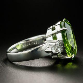 Estate 13.06 Carat Peridot and Diamond Ring