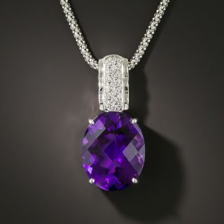 Estate 13.18 Carat Amethyst and Diamond Pendant - 2
