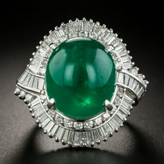 Estate 13.28 Carat Colombian Emerald and Diamond Cocktail Ring - 1