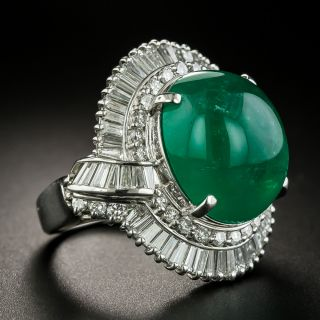 Estate 13.28 Carat Colombian Emerald and Diamond Cocktail Ring