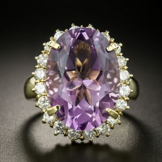 Estate 14 Carat Amethyst and Diamond Cocktail Ring - 3
