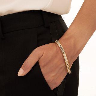 Estate 18.50 Carat Emerald-Cut Diamond Line Bracelet