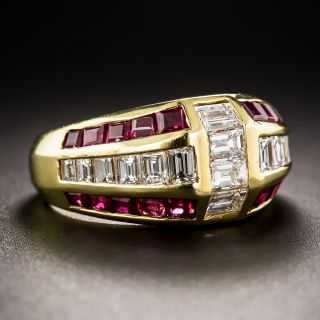 Estate 18K Diamond and Ruby Ring