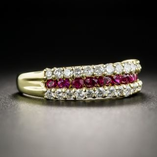 Estate 18K Ruby and Diamond Band Ring