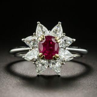 Estate 18K  Ruby and Diamond Halo Platinum Ring - 1