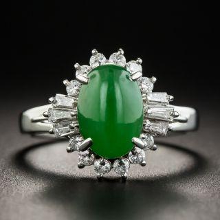 Estate 2.00 Carat Natural Jade and Diamond Ring - 1