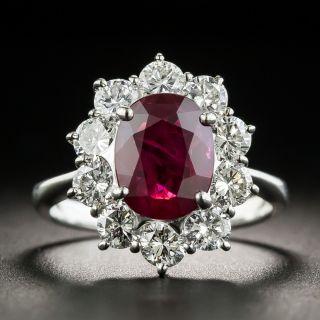 Estate 2.00 Ruby Platinum Diamond Ring (GIA) - 1