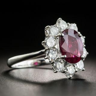 Estate 2.00 Ruby Platinum Diamond Ring (GIA)