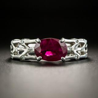 Estate 2.01 Carat Burmese Ruby and Diamond Ring - 2
