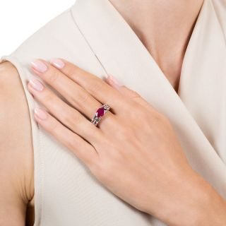 Estate 2.01 Carat Burmese Ruby and Diamond Ring