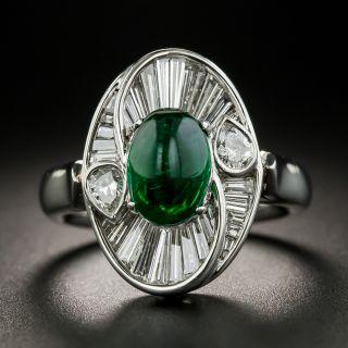 Estate 2.01 Carat Cabochon Emerald and Baguette Diamond Ring - 1