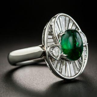 Estate 2.01 Carat Cabochon Emerald and Baguette Diamond Ring