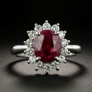 Estate 2.02 Carat Ruby and Diamond Halo Ring - 2