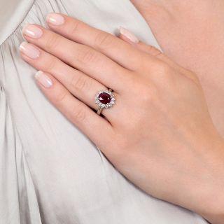 Estate 2.02 Carat Ruby and Diamond Halo Ring