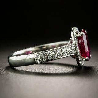 Estate 2.03 Carat Burmese Ruby and Diamond Halo Ring