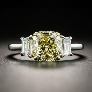 Estate 2.03 Carat Natural Fancy Yellow Cushion-Cut Diamond Ring - GIA - 2