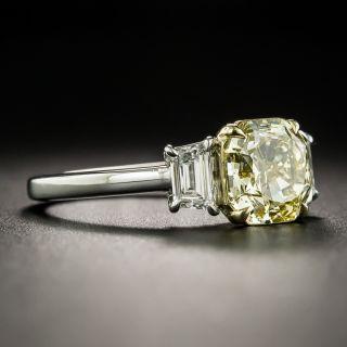 Estate 2.03 Carat Natural Fancy Yellow Cushion-Cut Diamond Ring - GIA