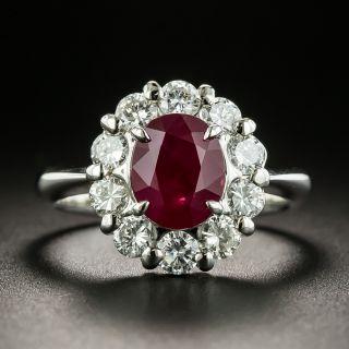 Estate 2.03 Carat Oval Burmese Ruby and Diamond Halo Ring - 1